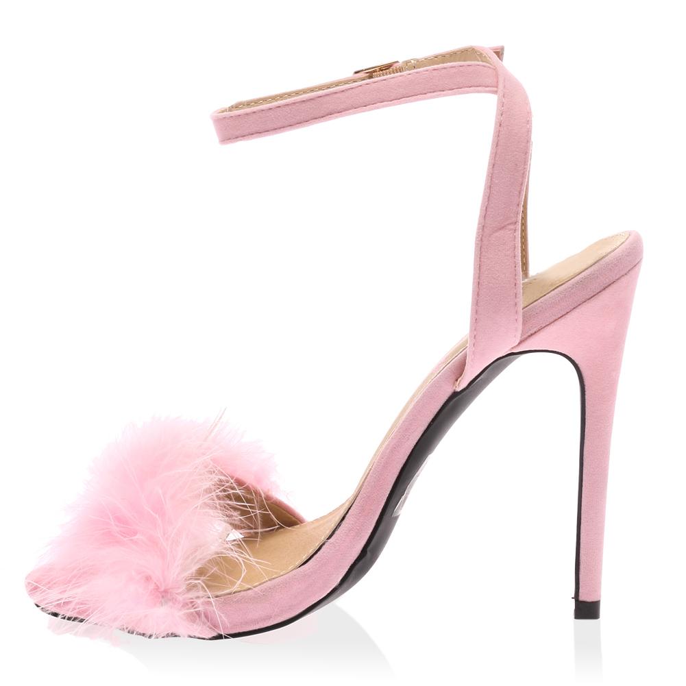 Pink Fluffy Heels - Is Heel