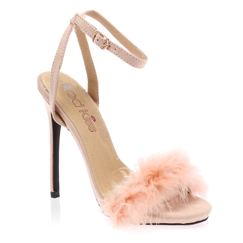 Ladies Ankle Strap Womens Faux Feather Peep Toe Fluffy Stiletto ...