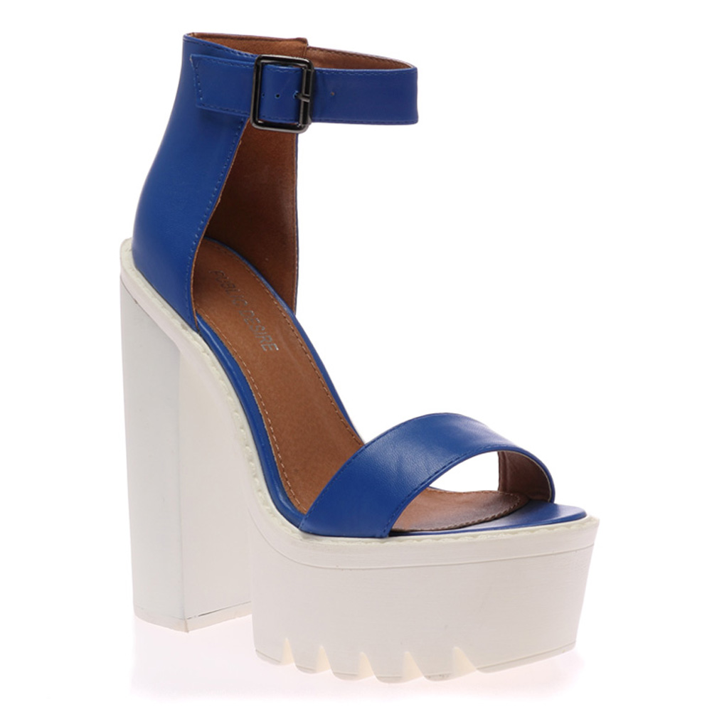 Womens Party Ladies Platform Chunky Heel Cleated Sole Strappy ...