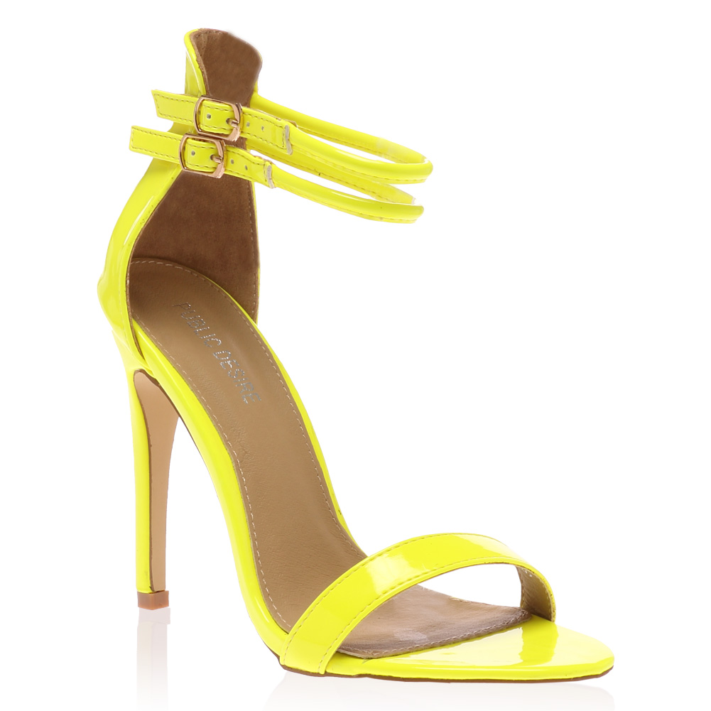 Ladies Peep Toe Womens Double Ankle Strap Stiletto Heel Sandals