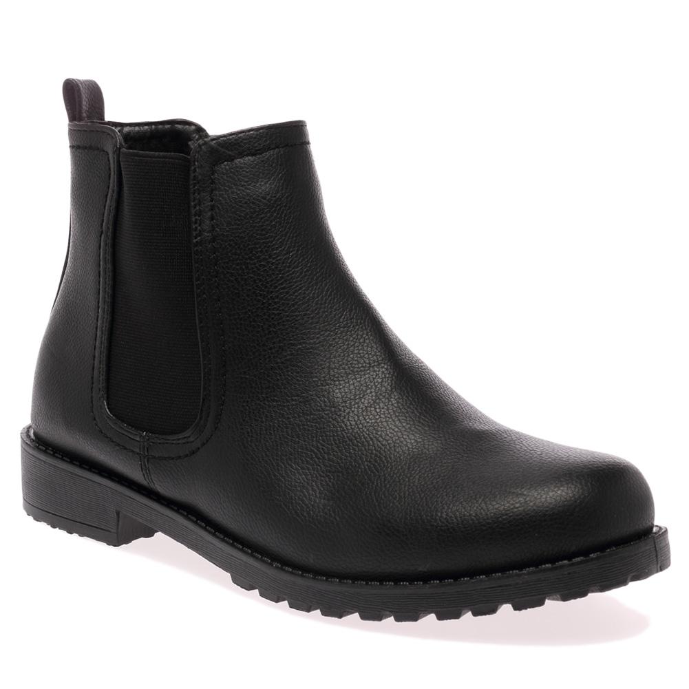 elasticated black womens low heel grip sole chelsea