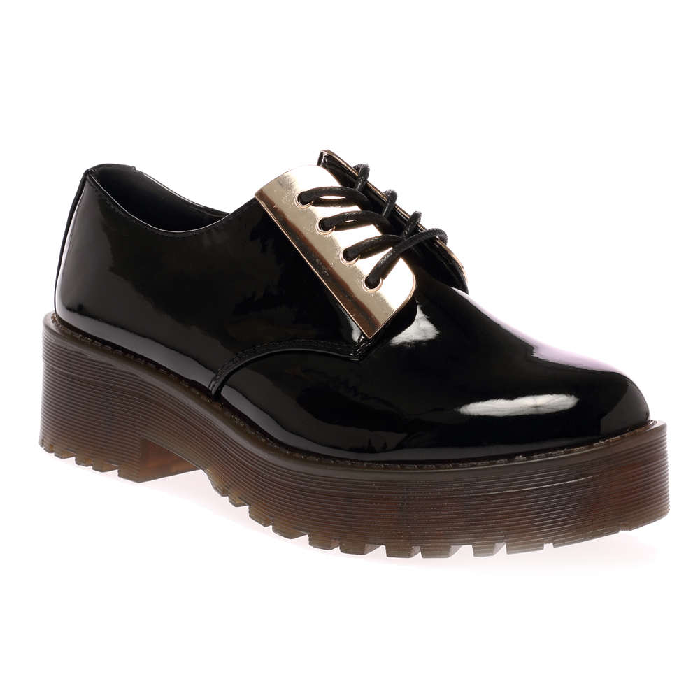 WOMENS BLACK PATENT LACE UP GOLD PLATED LADIES CHUNKY HEEL BROGUE ...