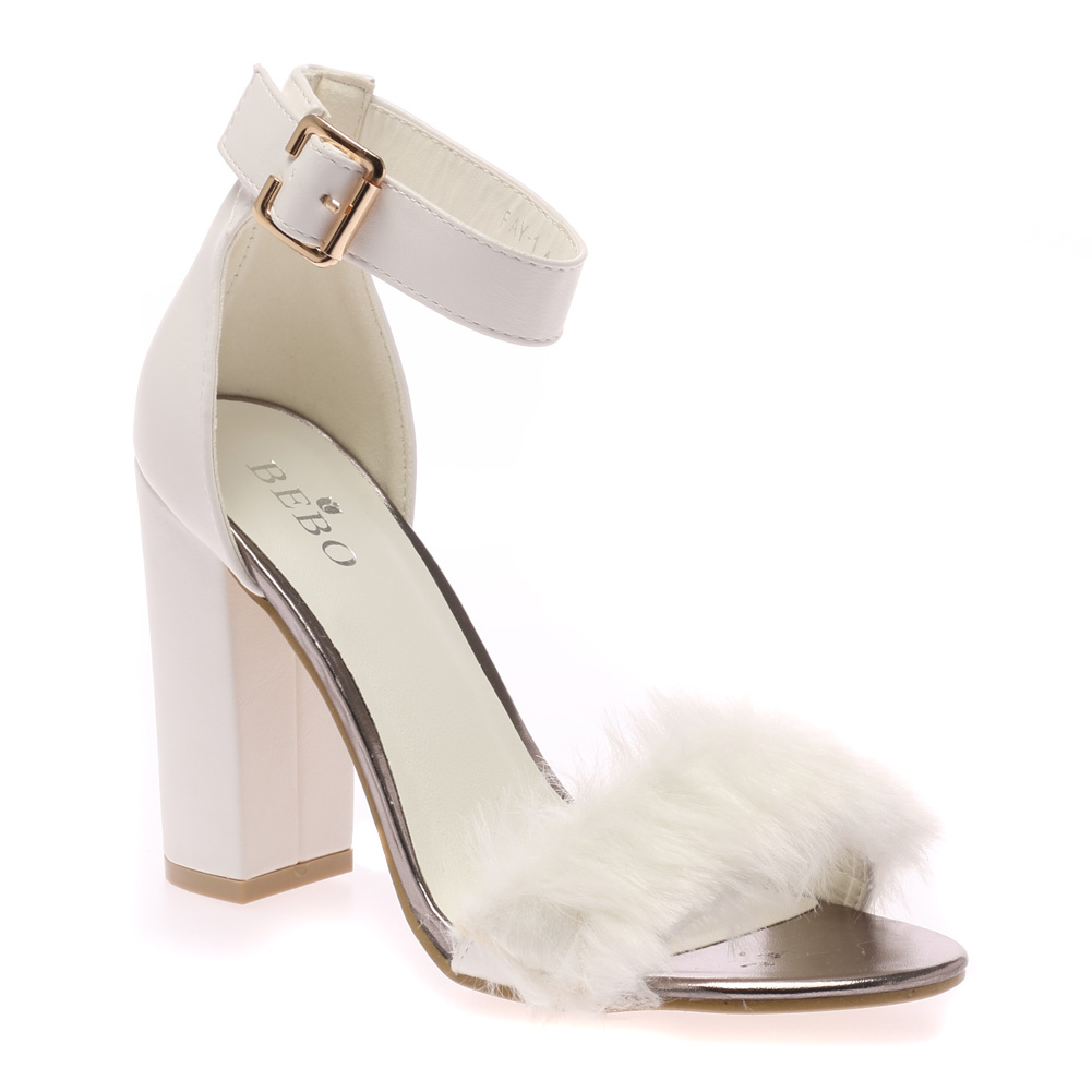 Silver Small Ladies Block Heel Shoes