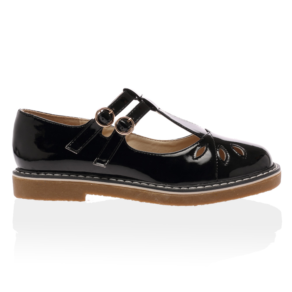 New Womens Double Buckle Strap Las School Geek Mary Jane Flats Dolcis Comfortable T Bar Shoes