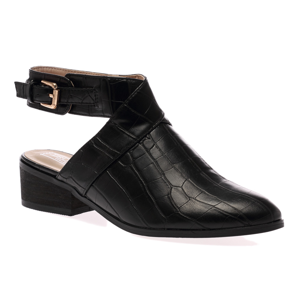 New Ladies Buckle Ankle Strap Womens Back Cut Out Low Heel Boots ...