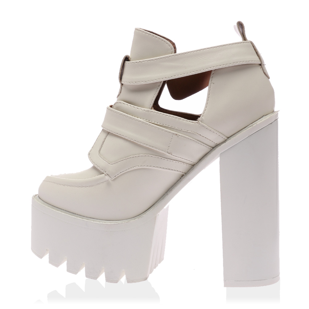 new chunky high heel womens cut out buckle