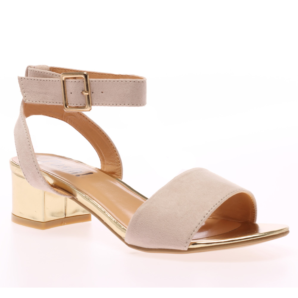 Nude Low Heel Sandals