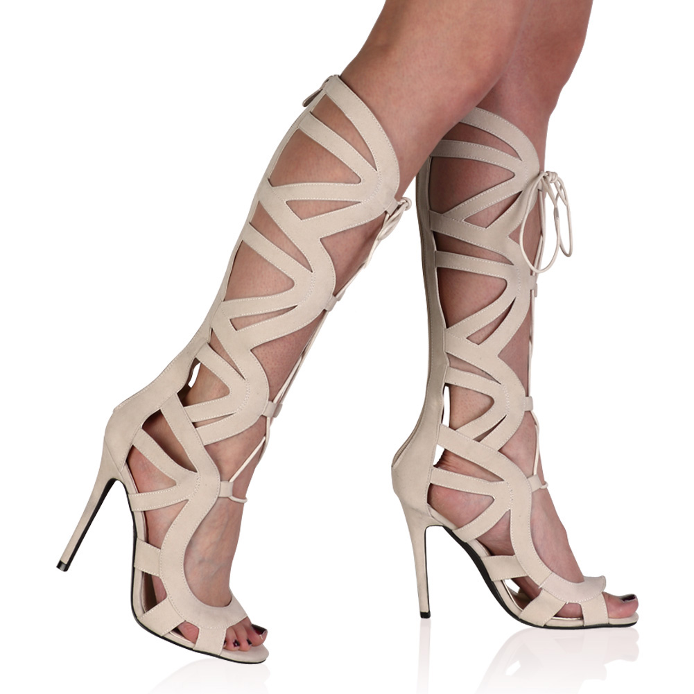 Ladies Knee High Womens Stiletto Heel Cut Out Lace Up Sandals ...