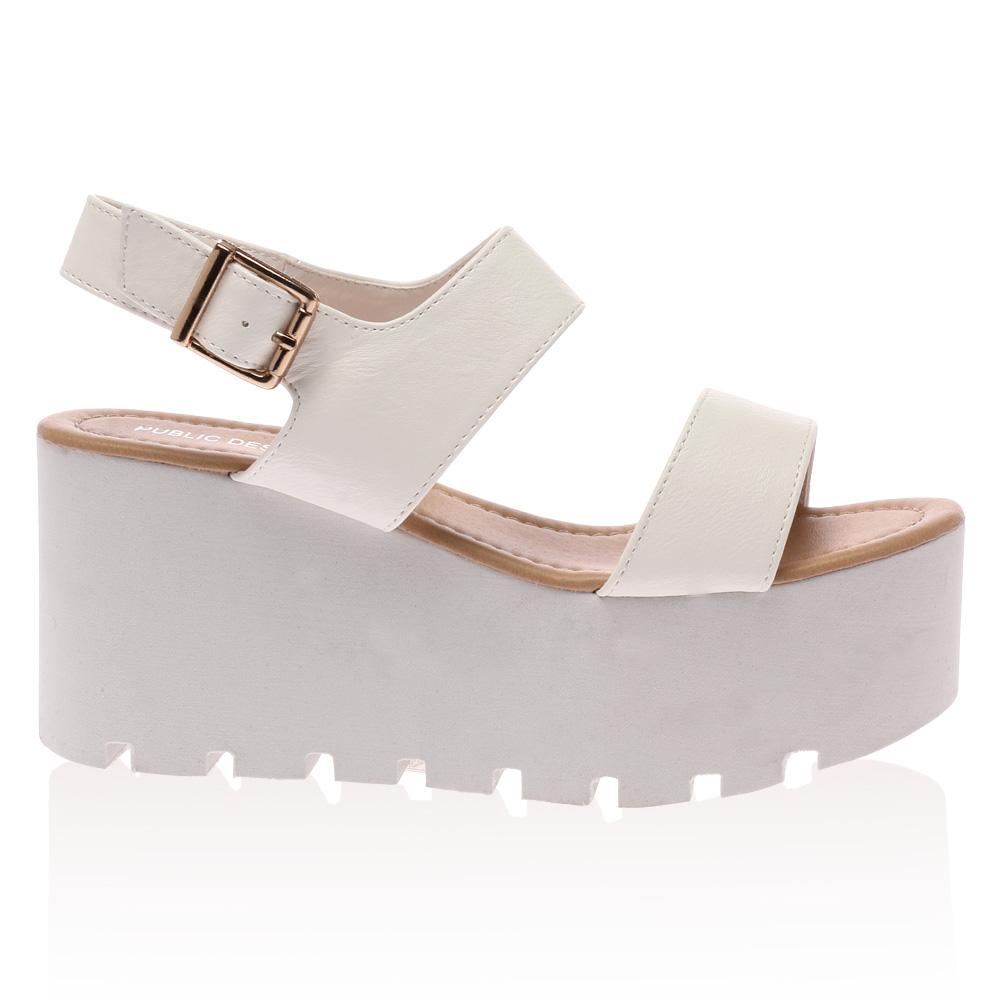 New Ladies Buckle Womens Open Toe Wedge Block Flatform Sandals ...