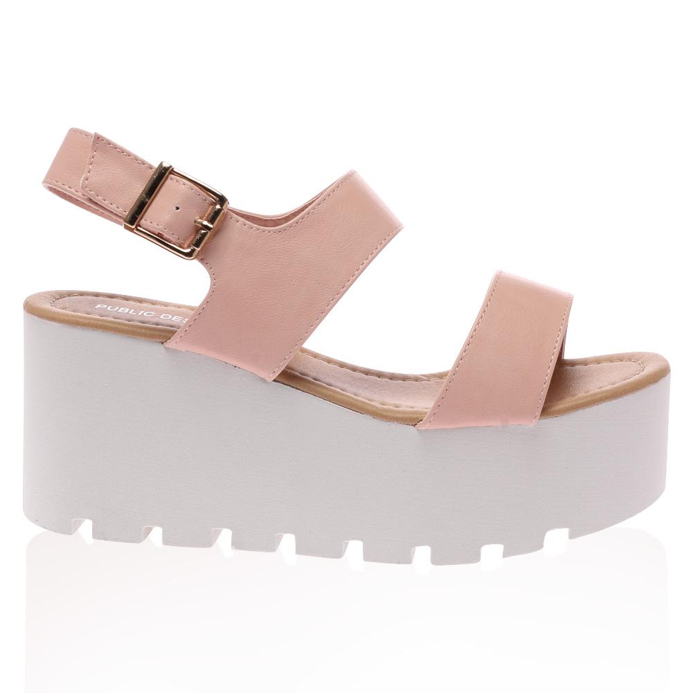 Pink Strappy Open Toe Flatform Wedge Sandals LyDAer