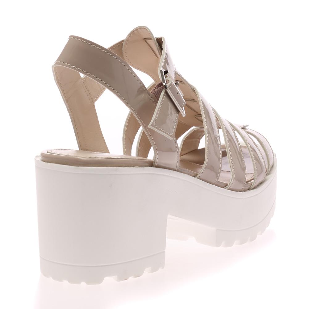 Home New Womens T Bar Buckle La S Open Toe Chunky Platform Sandals