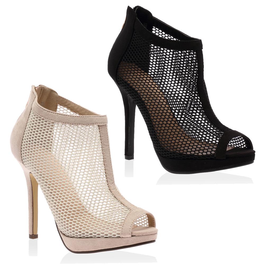 womens open toe mesh fishnet stiletto heel ankle