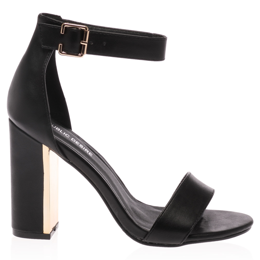 Ladies Gold Plated Block Heel Womens Buckle Ankle Strap ...