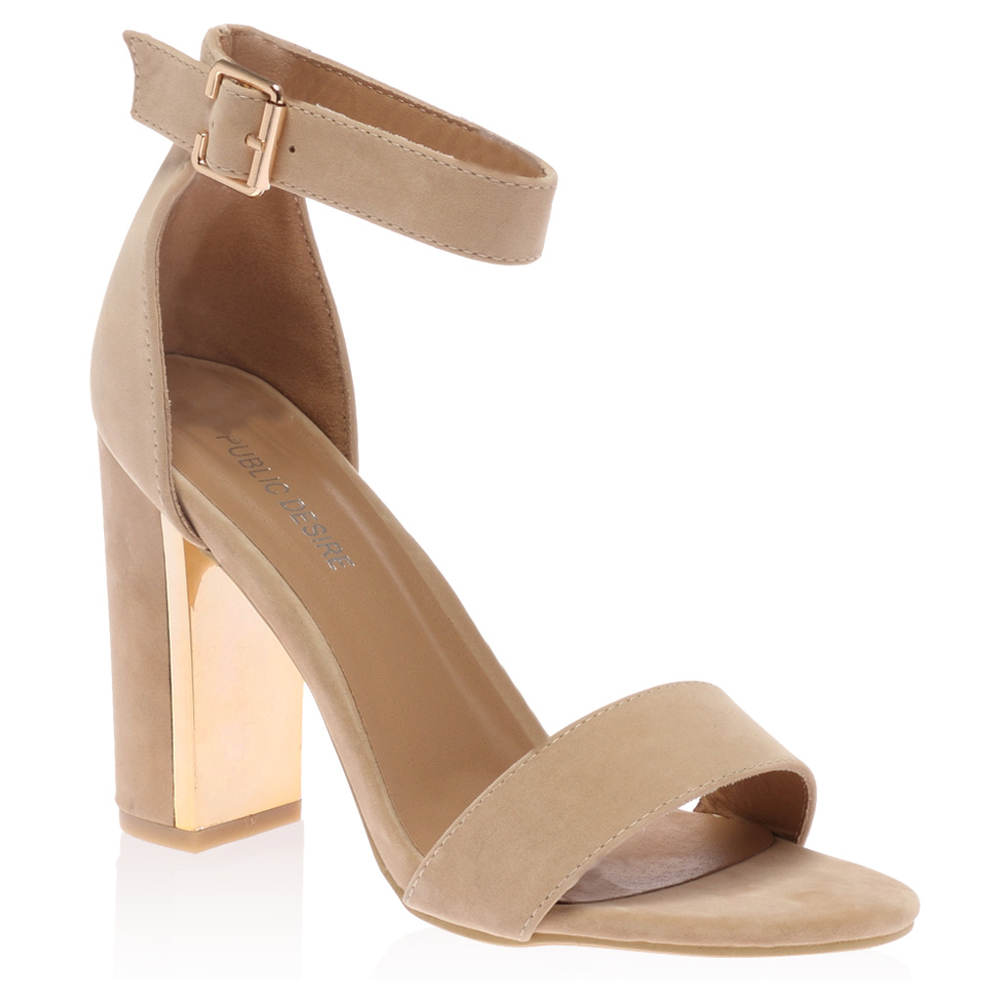 gold plated block heel womens buckle ankle