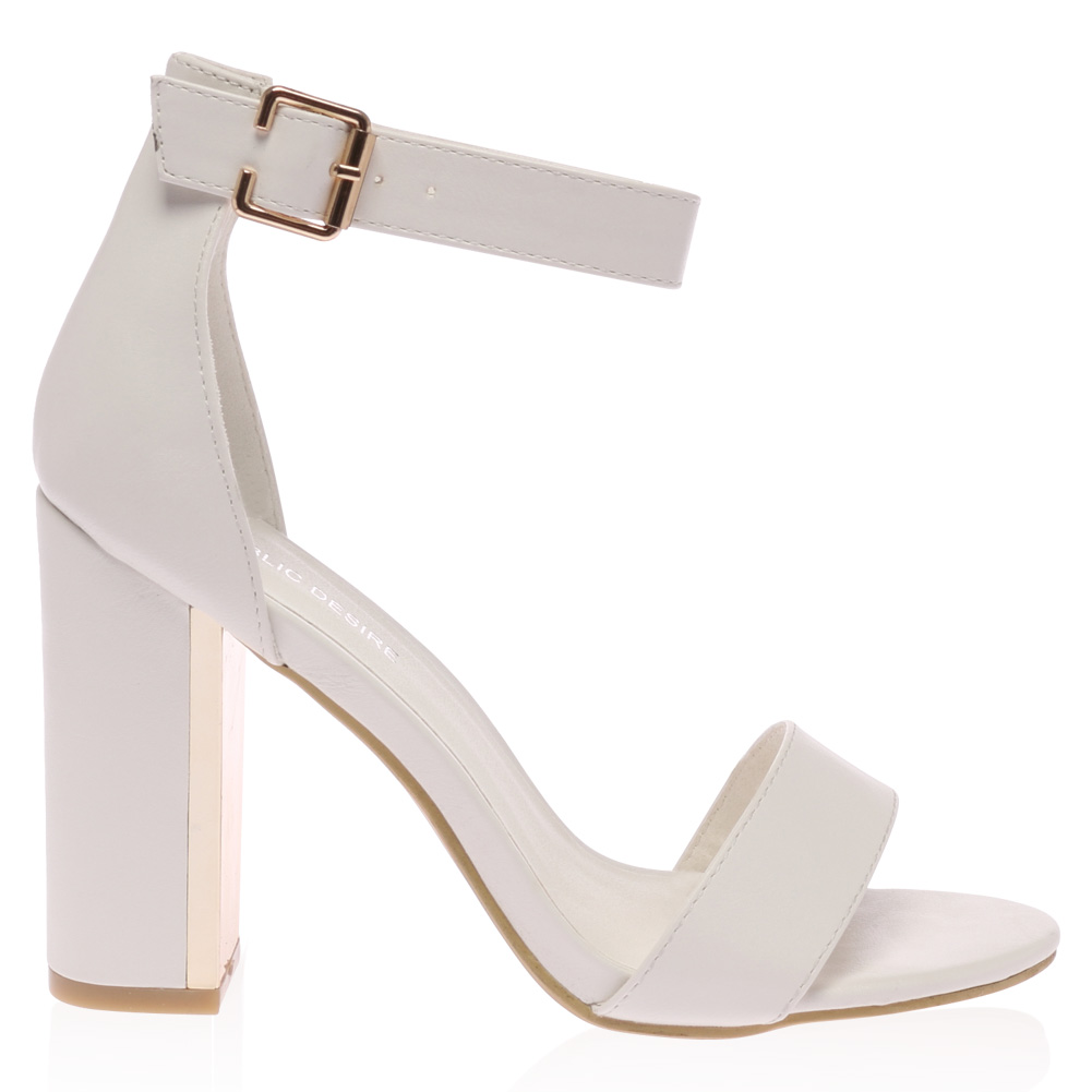 Ladies Gold Plated Block Heel Womens Buckle Ankle Strap Sandals ...