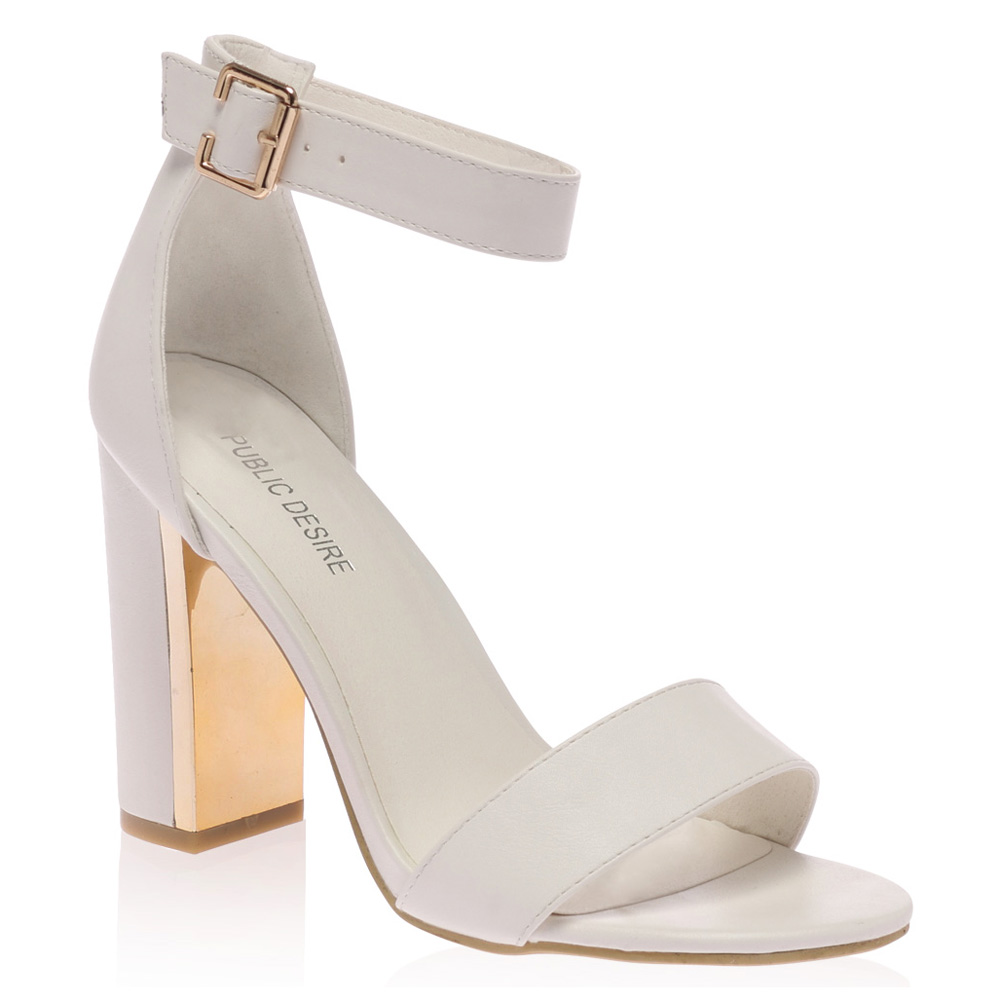 Ladies Gold Plated Block Heel Womens Buckle Ankle Strap