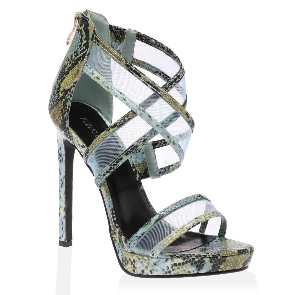 womens black snake ankle strap ladies peep toe high heel