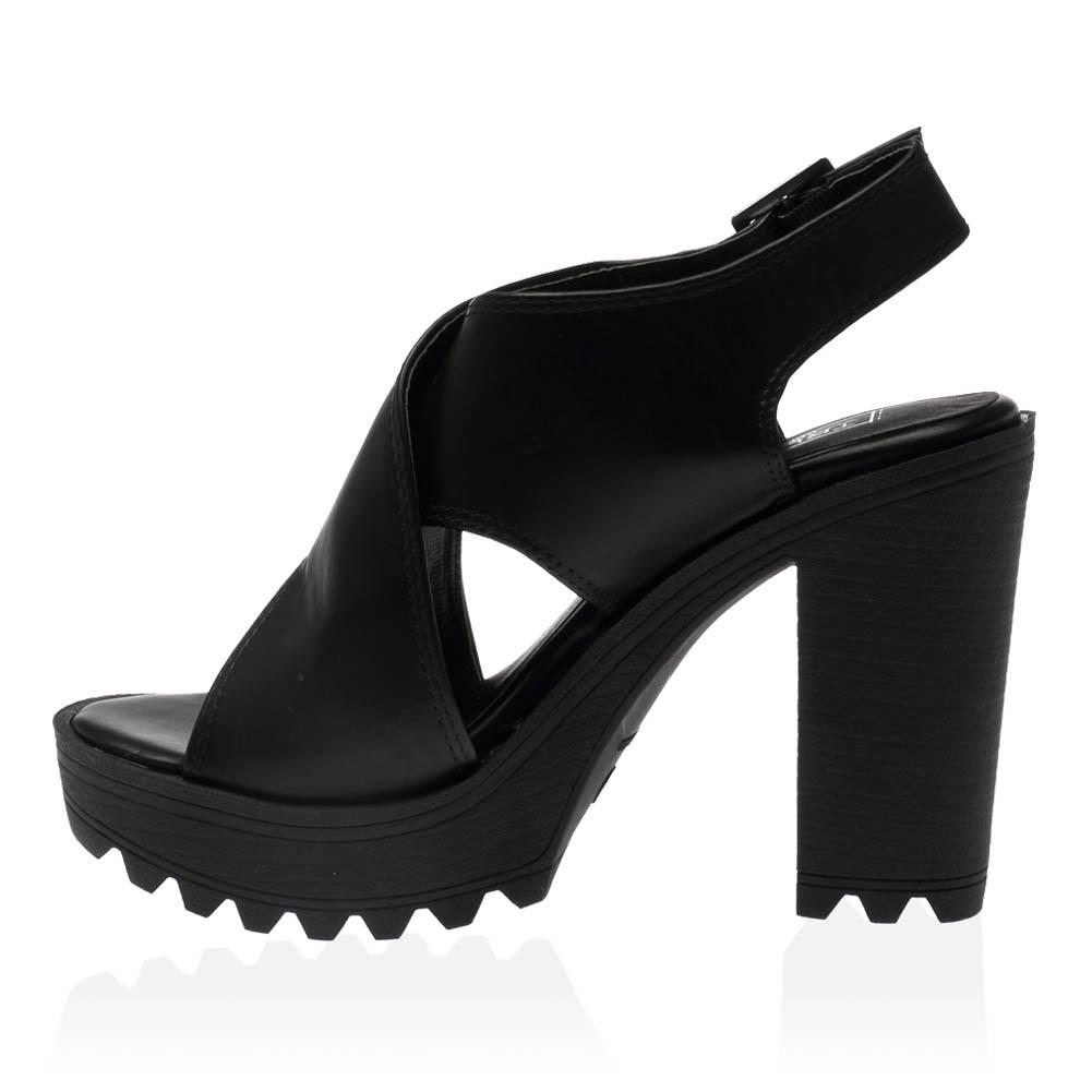 new cleated sole womens chunky buckle high heel
