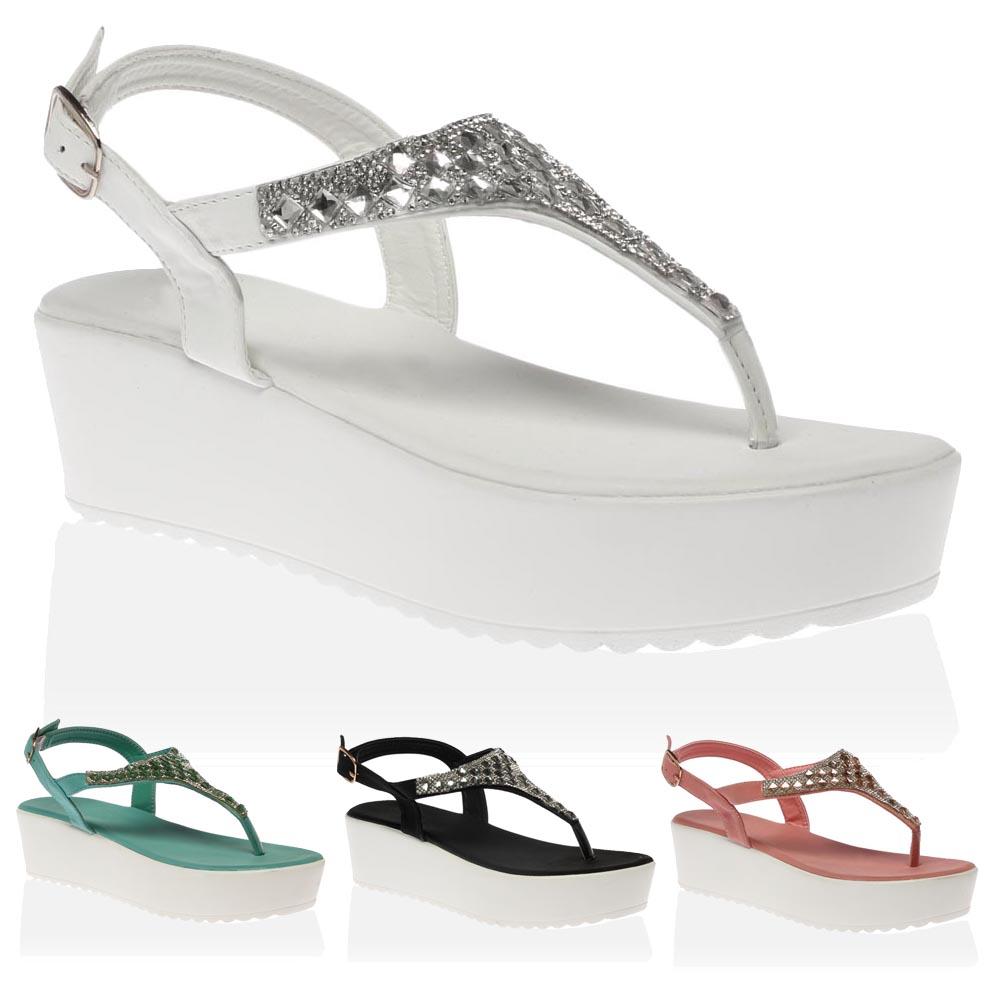 LADIES NEW WEDGE SANDAL Holiday Beach Heel Toe Post Strappy Ribbon UK Sizes 3-8