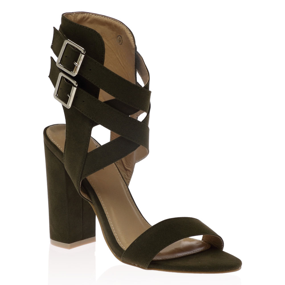 f7dbd07d7d7 Womens Buckle Strappy Chunky Block Heel Open Peeptoe Cut Out Sandals ...
