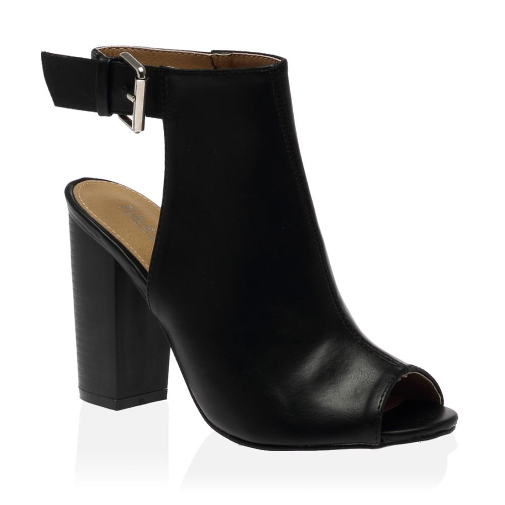 35q femmes bout ouvert ouvertes talon carr boucle bottines chaussures t36 41 ebay. Black Bedroom Furniture Sets. Home Design Ideas