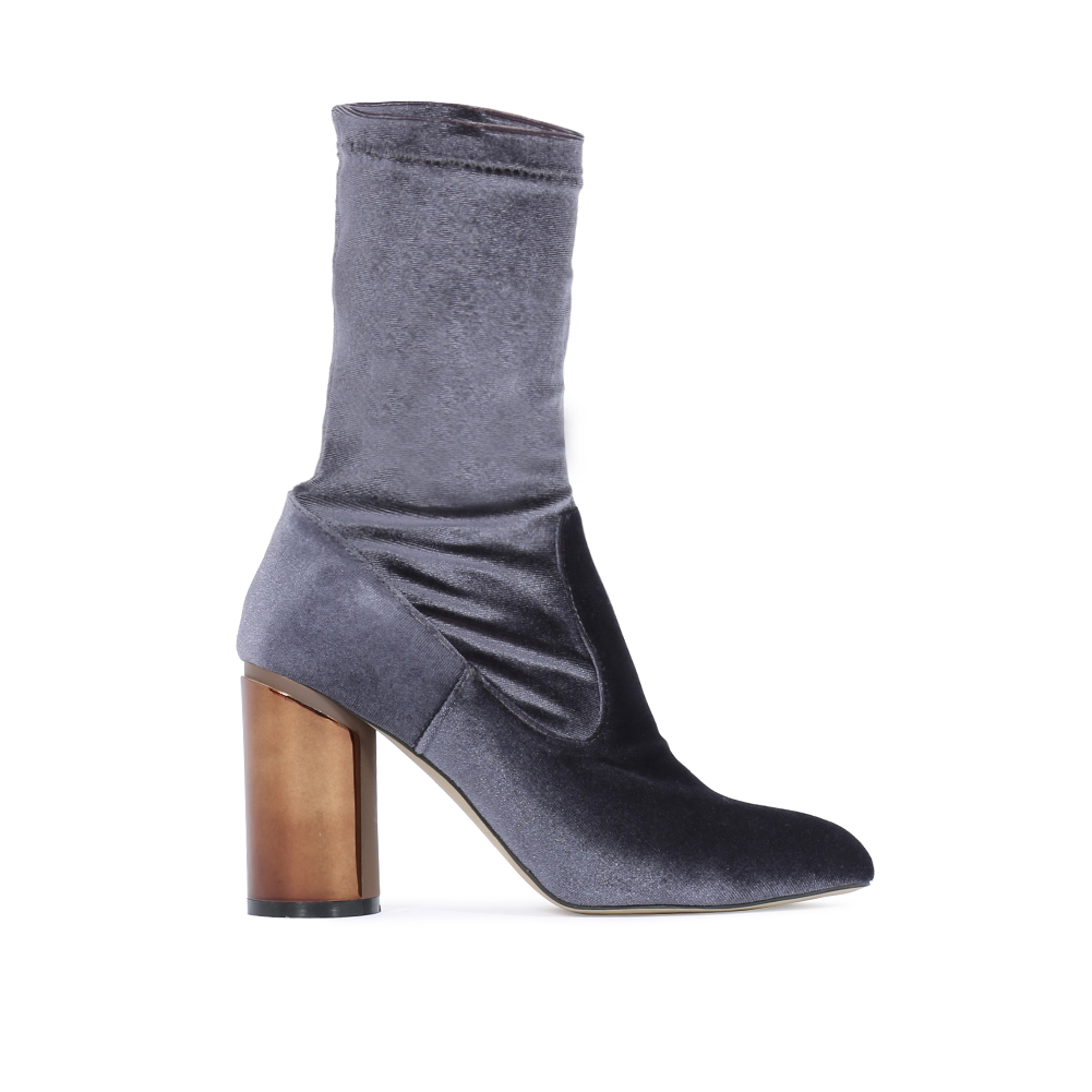 womens zip up chunky mirrored shine block heel ankle boots