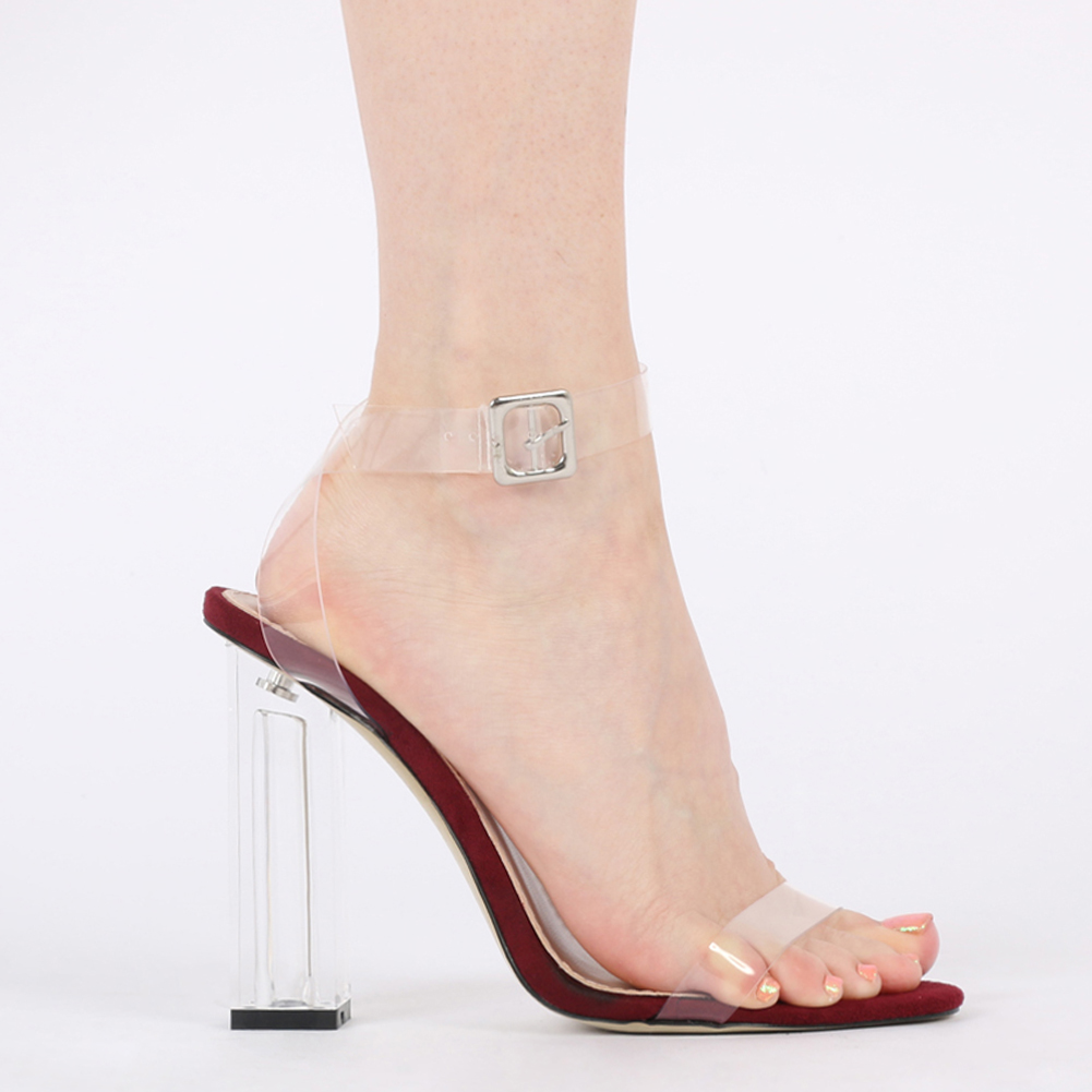 womens buckled ankle strap perspex high heel in clear bordeaux faux suede uk 3 8 ebay. Black Bedroom Furniture Sets. Home Design Ideas