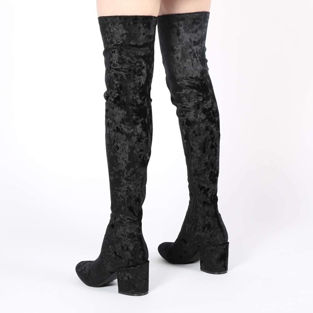 Womens Zip Up Pointed Toe Long Boots In Black Crushed