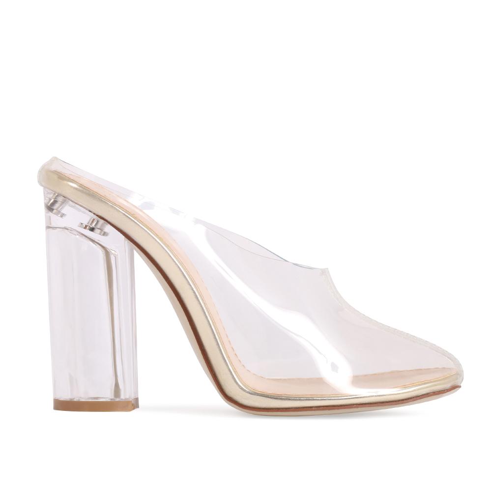 Block Metallic Heel Shoe