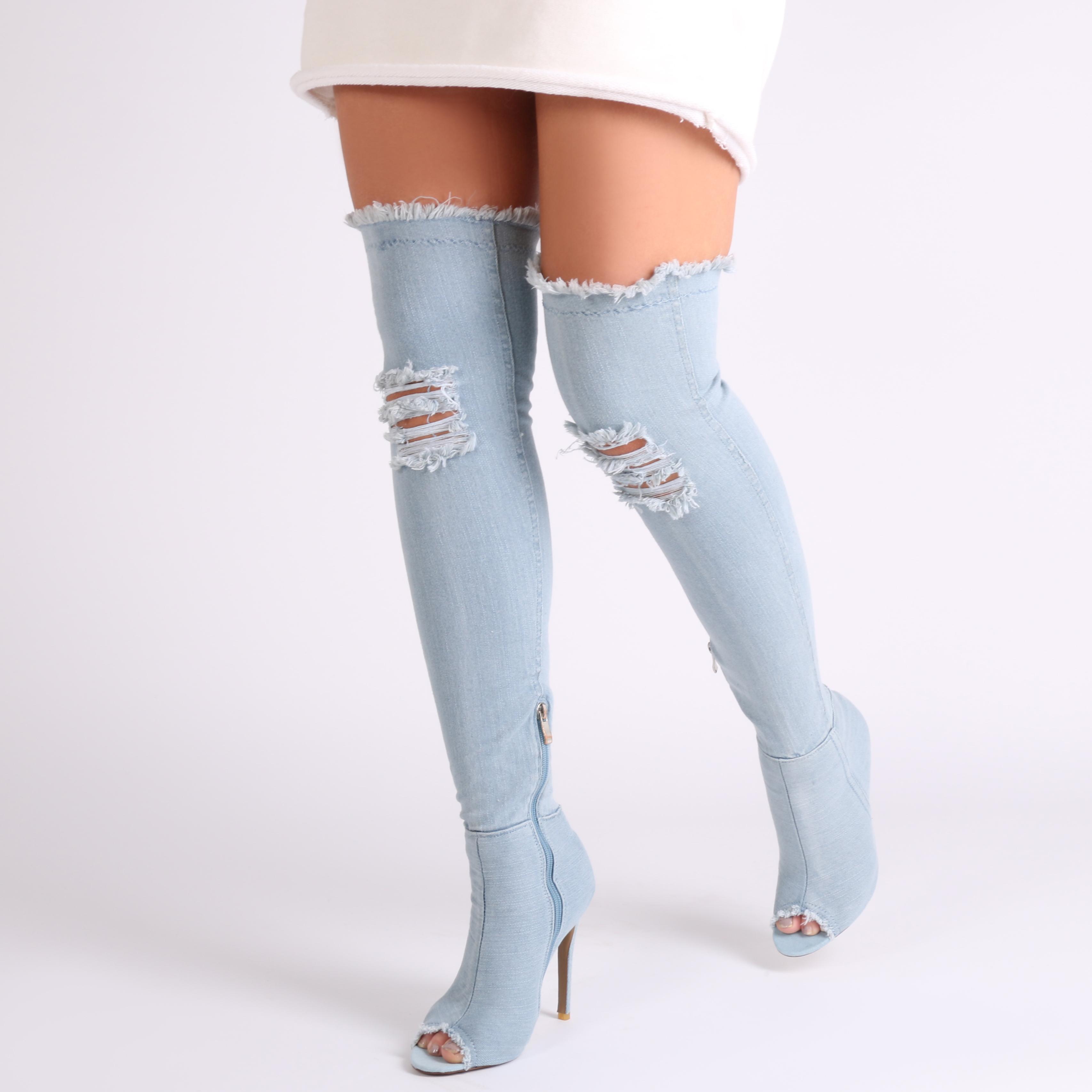 Womens Zip Up Stiletto Heels Over The Knee Long Boots in Denim Blue UK 3-8