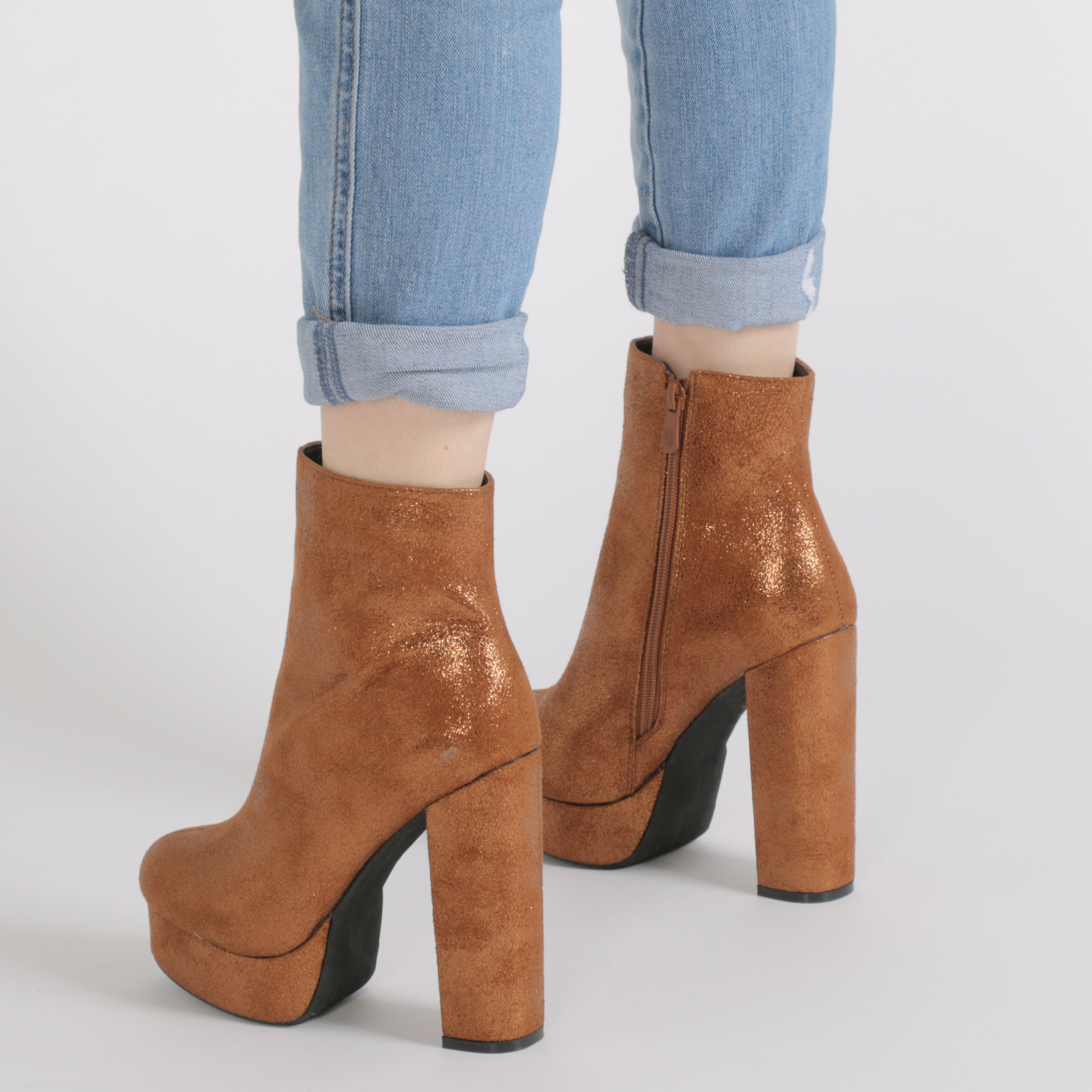 Mujer Cremallera Plataforma Botas al Tobillo Zapatos De Tacón Bloque de punta redondeada en bronce Reino Unido 3-8