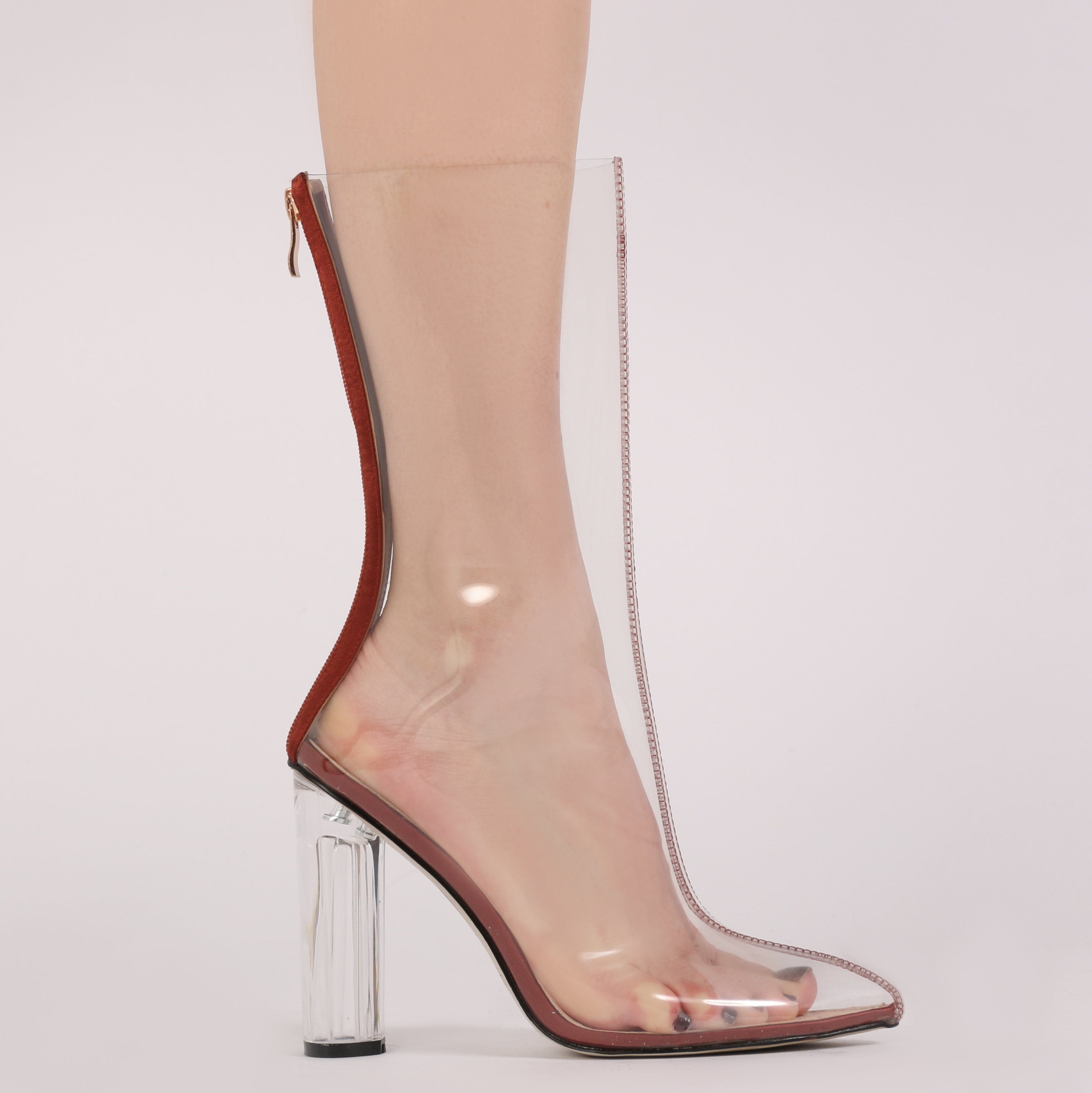 womens zip up see through perspex high heels ankle boots