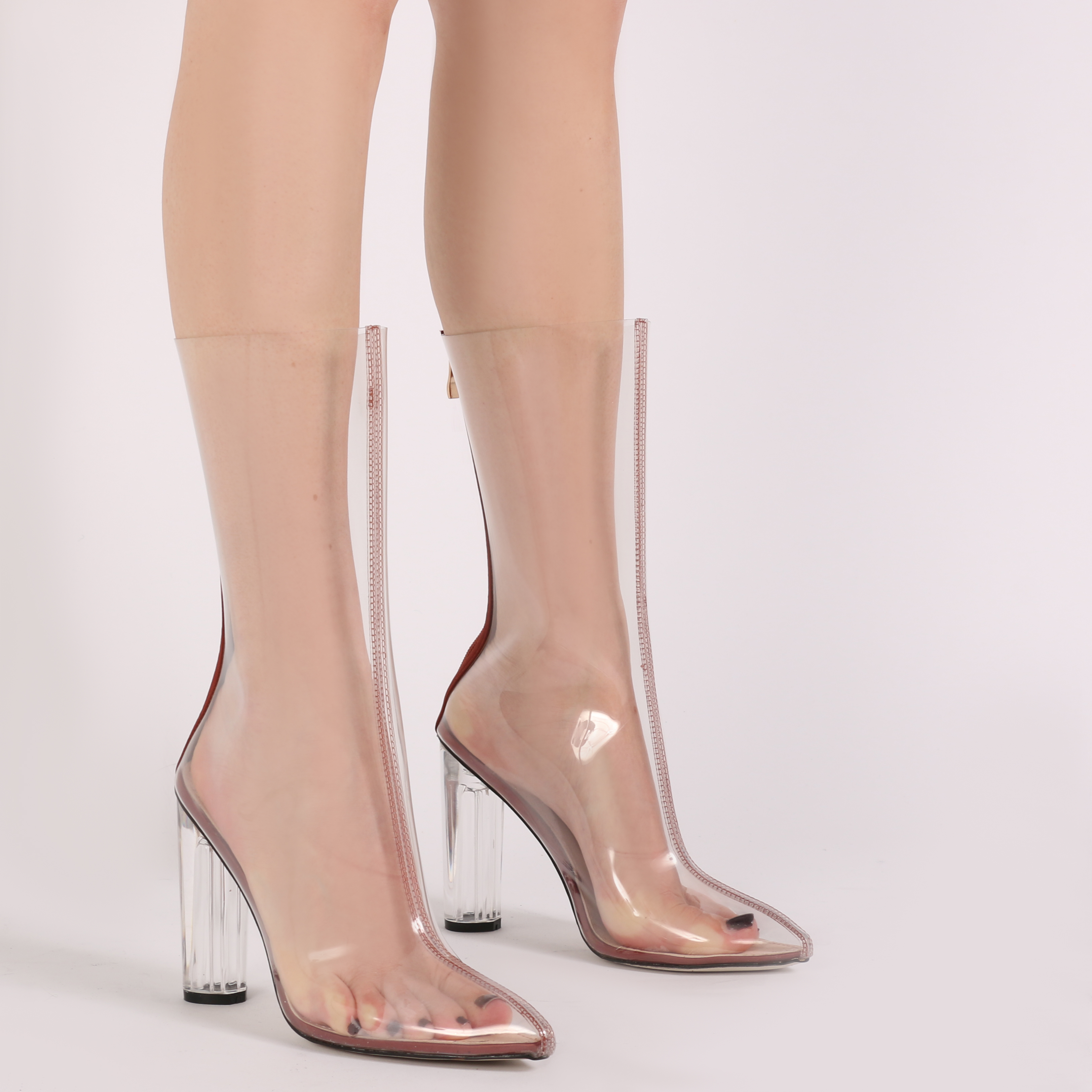 womens zip up see through perspex high heels ankle boots in rust satin uk 3 8 ebay. Black Bedroom Furniture Sets. Home Design Ideas