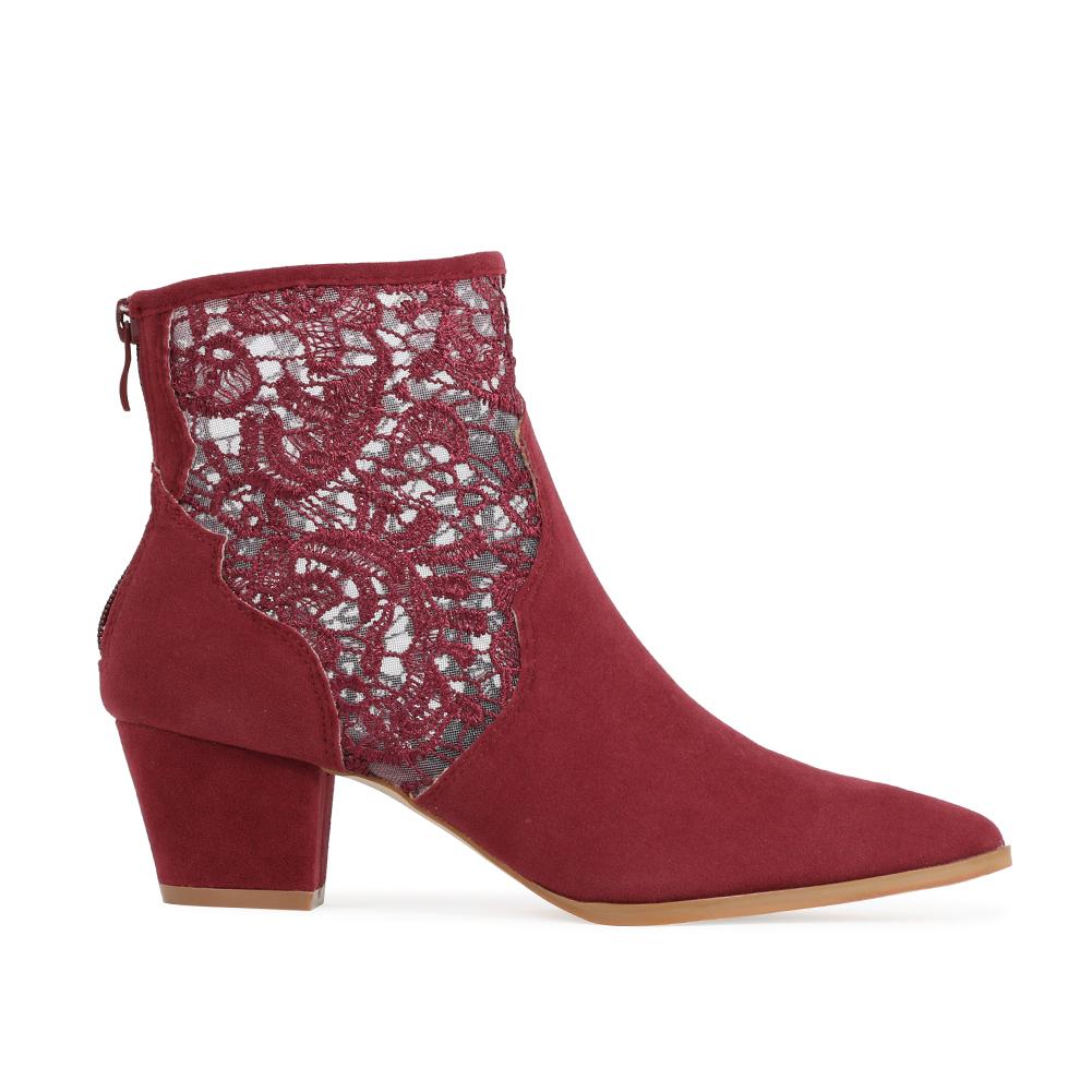 womens lace zip up block heel cowboy ankle boots in bordeaux faux suede 3 8 ebay. Black Bedroom Furniture Sets. Home Design Ideas