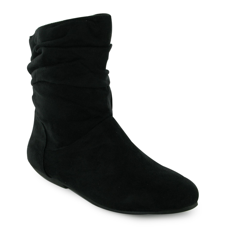 black faux suede ankle slouch boots size 3 8 nib ebay