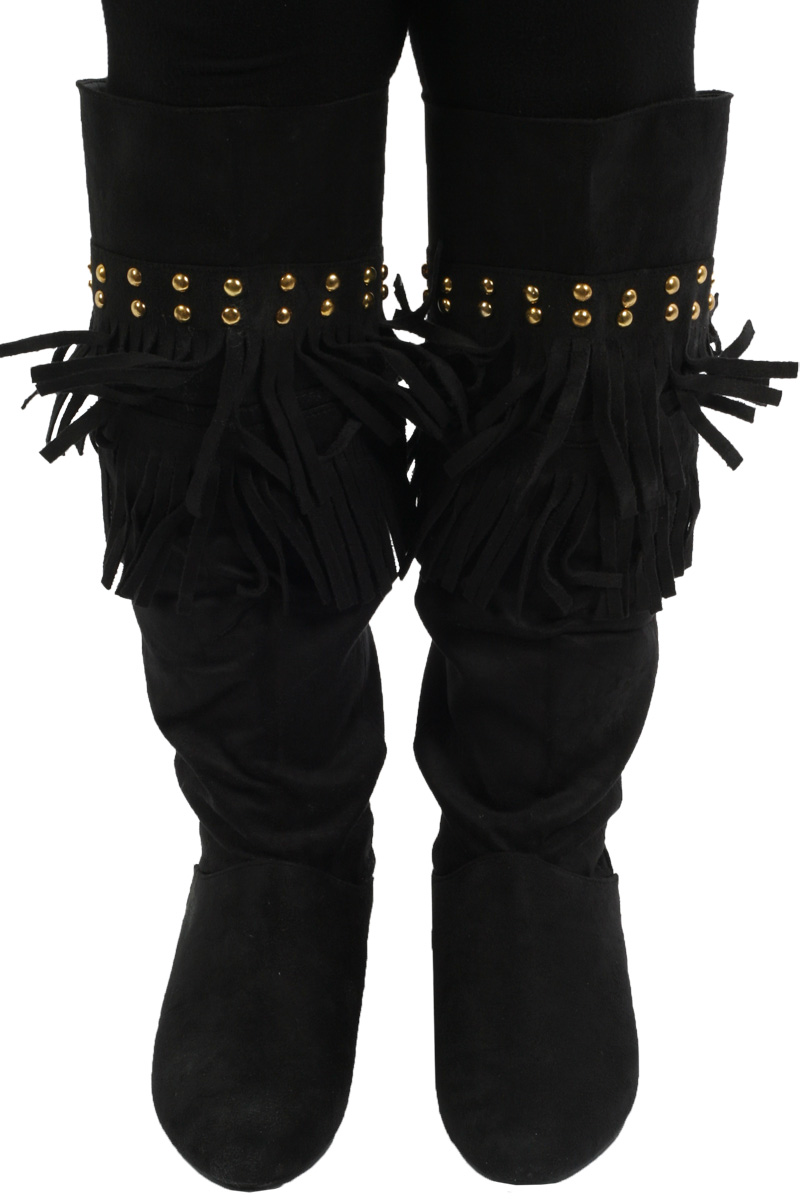 LADIES BLACK WINTER OVER THE KNEE HIGH BOOTS SIZE 3-8