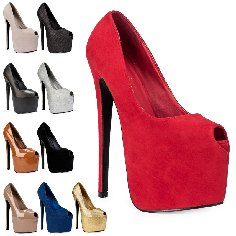 new black faux suede womens peep toe 7 inch
