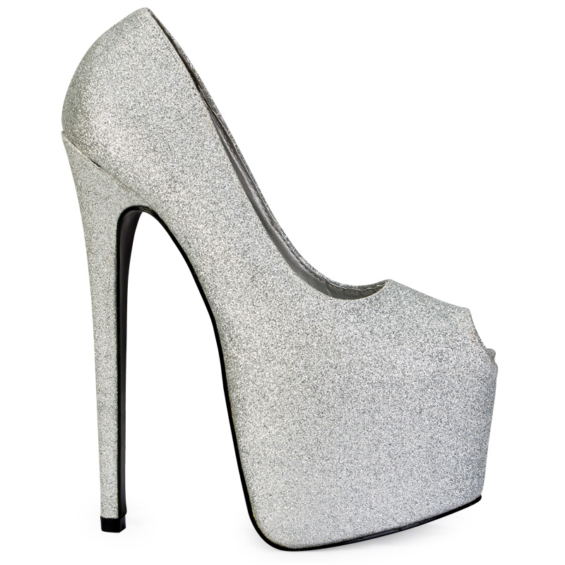 New Womens Silver Glitter Peep Toe Platform Ladies 7 Inch Stiletto ...