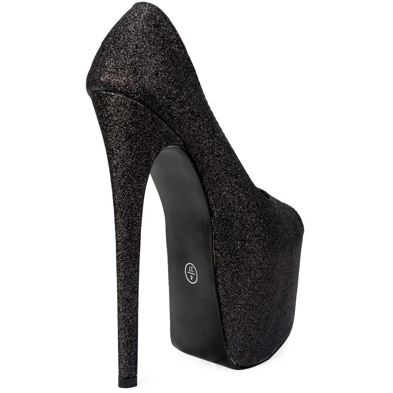 new womens black glitter peep toe 7 inch stiletto