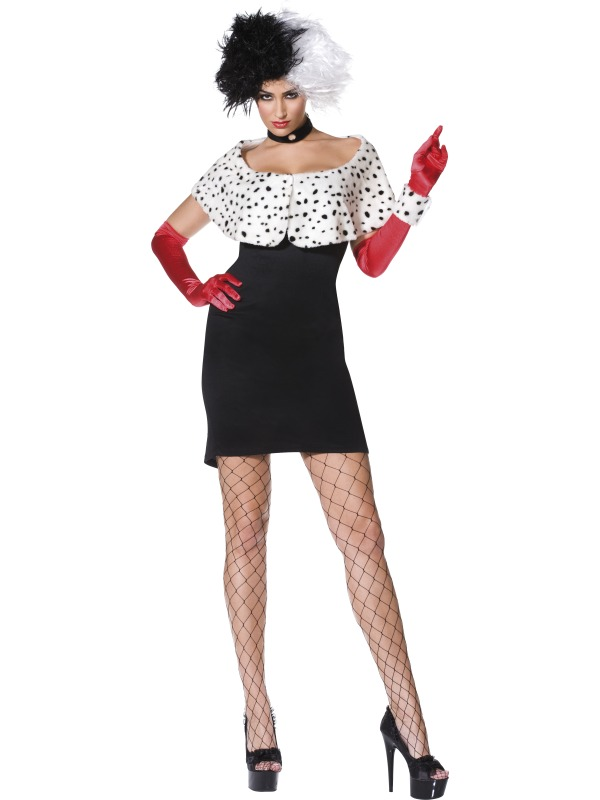 evilicious cruella deville fancy dress costume large ebay. Black Bedroom Furniture Sets. Home Design Ideas