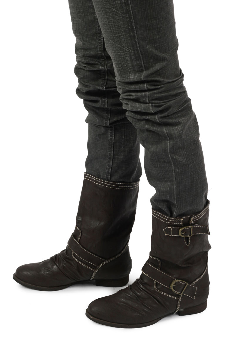 NIB LADIES BROWN CASUAL MID CALF BUCKLE BOOTS SIZE 3-8