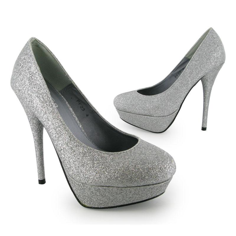 ladies silver glitter eveningwear high heels size 3 8 ebay. Black Bedroom Furniture Sets. Home Design Ideas