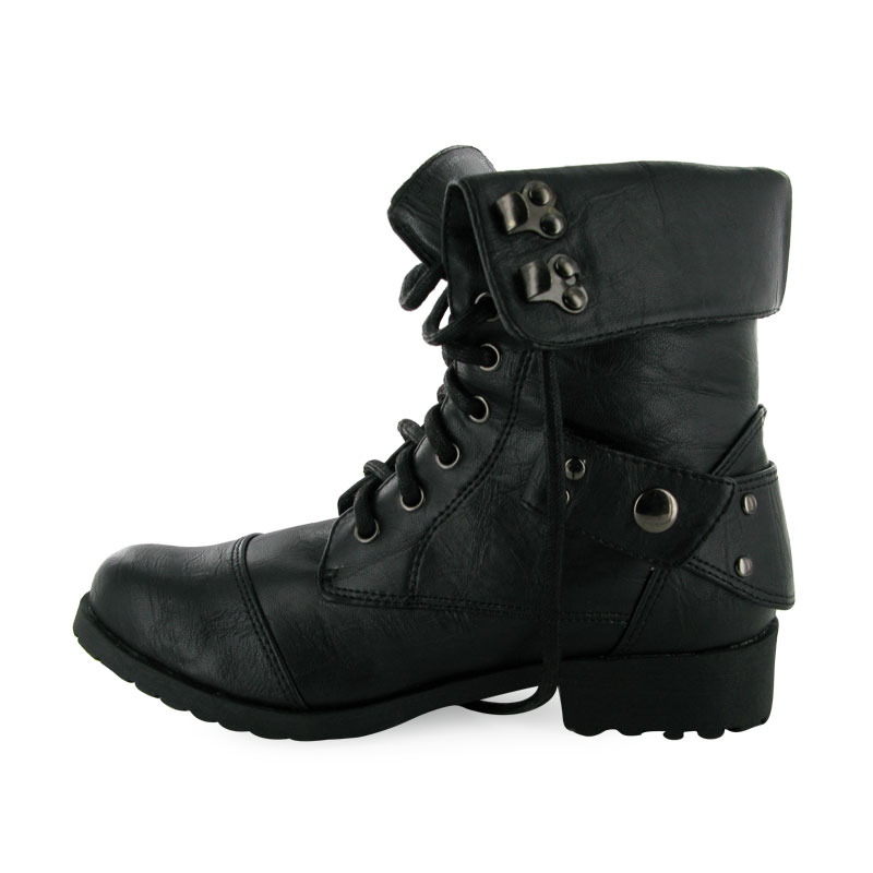 Black combat boots for girls