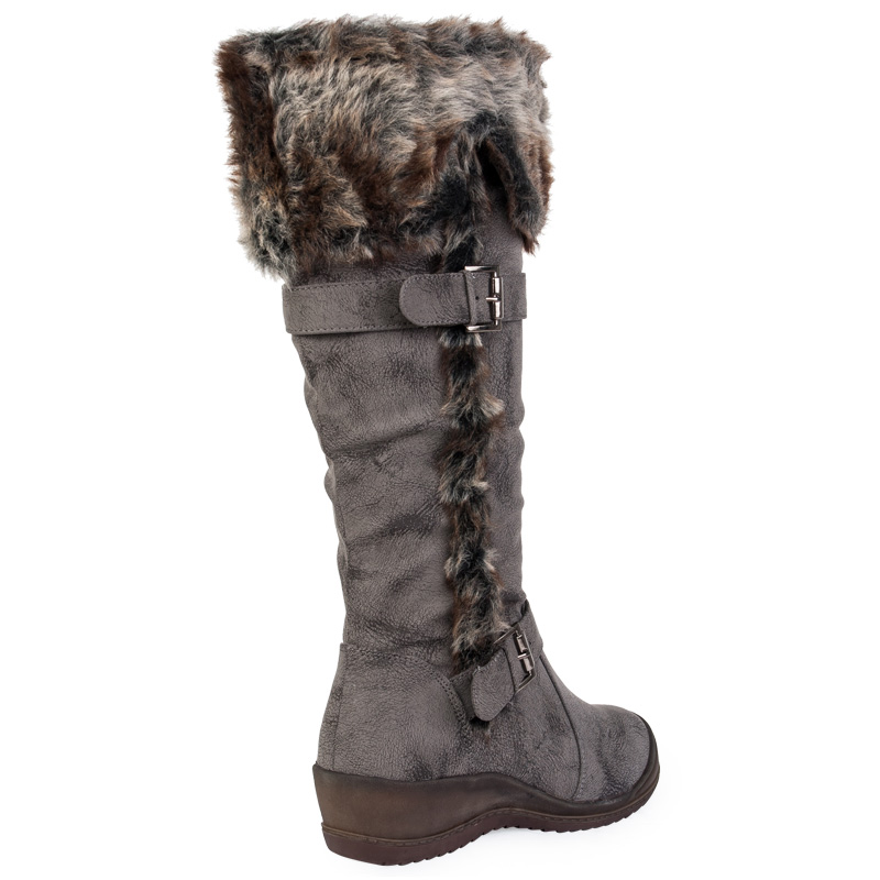 womens brown wedge faux fur buckle knee high winter