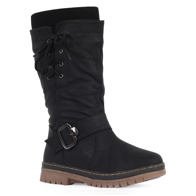 womens black flat winter snow grip sole fleeced mid