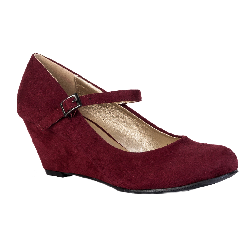 Leather Suede Womens Buckle Shoe Mary Jane Flat