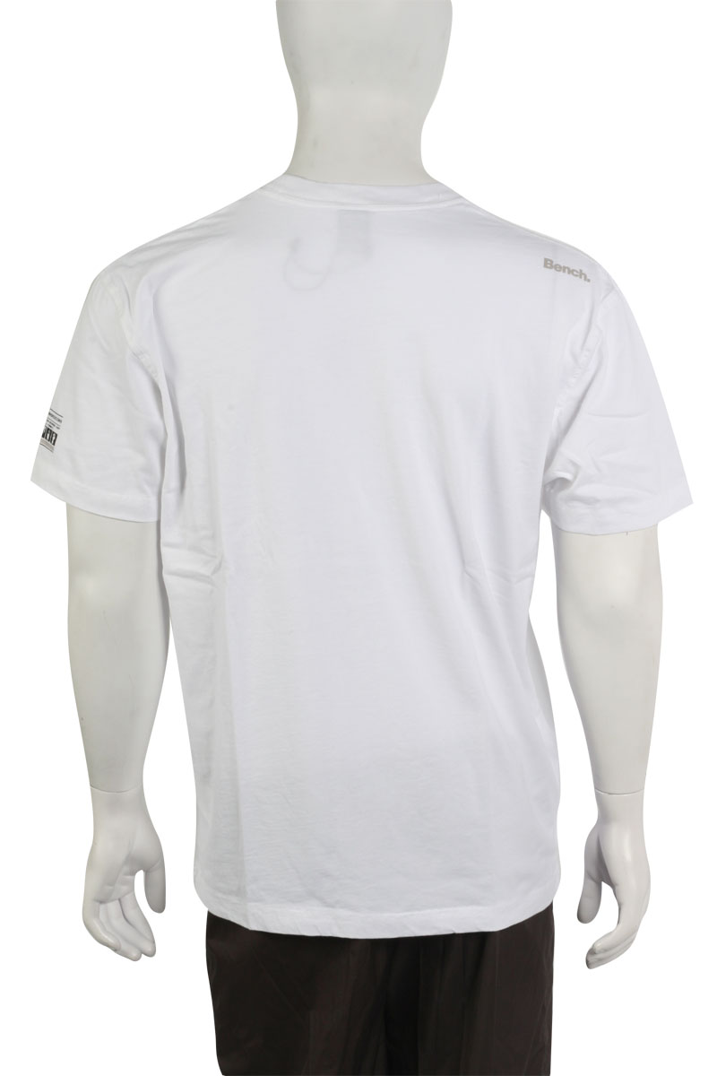 MENS WHITE BENCH SHORT SLEEVE PRINT T-SHIRT SIZE XS-XXL