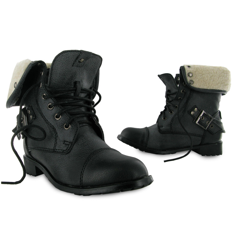 KIDS GIRLS DIRTY BLACK COMBAT MILITARY BOOTS SIZE 10-2 | eBay