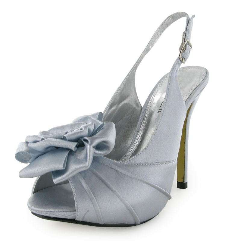 BNIB LADIES SILVER SATIN PEEP TOE PROM SHOES SIZE 3-8