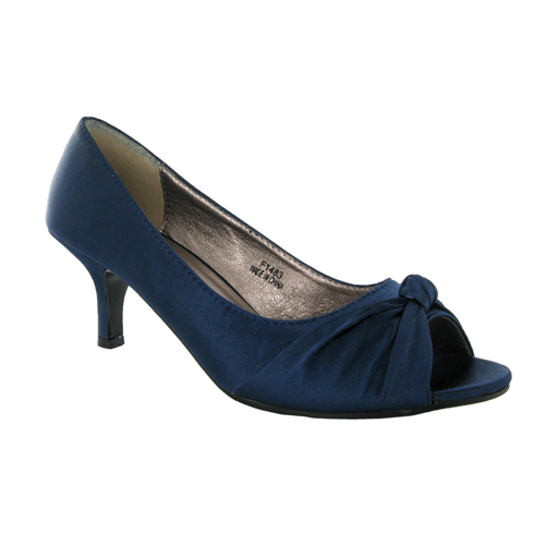 Ivory Navy Dress Shoes Low Heel